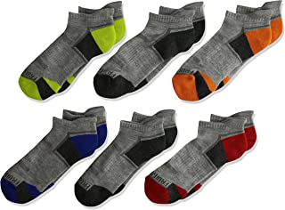 Fruit of the Loom Boys' Big Everyday Active Low Cut Tab Socks-6 Pair Pack