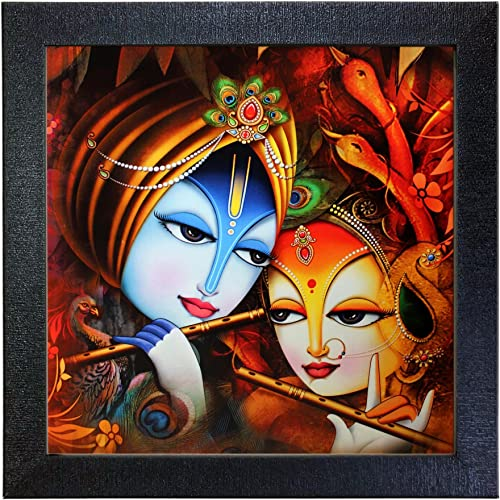 Sehaz Artworks 'Radha Krishna' Wall Photo Painting (Carbon Fiber, 30 cm x 30 cm x 3 cm, Black SZA-Radha_Krishna_005)