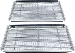 Checkered Chef Baking Sheet with Wire Rack Set - Twin Set w/ Half Sheet Pan & Stainless Steel Oven Rack for Cooking