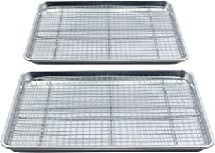 Checkered Chef Baking Half Sheet and Rack set. Twin pack of 2 Aluminum Trays and 2 Stainless Steel Racks