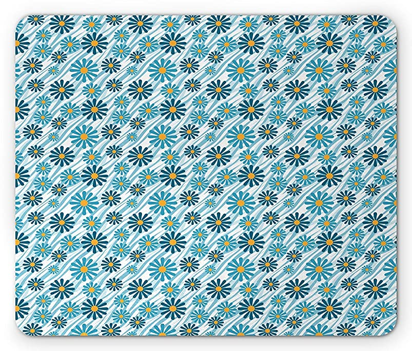 Animal Print Mouse Pad, Daisy Flowers Blooms On Geometric Curvy Stripes Artful Design Illustration, Standard Size Rectangle Non-Slip Rubber Mousepad, Blue Yellow,9.8 x 11.8 x 0.118 Inches xgyvjpqx497048