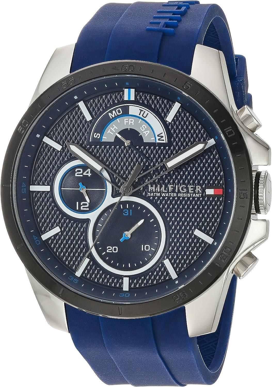 Reloj Casual de Cuarzo, Acero Inoxidable y Silicona para Hombre 'Cool Sport' de Tommy Hilfiger, Color: Azul (Modelo: 1791350)