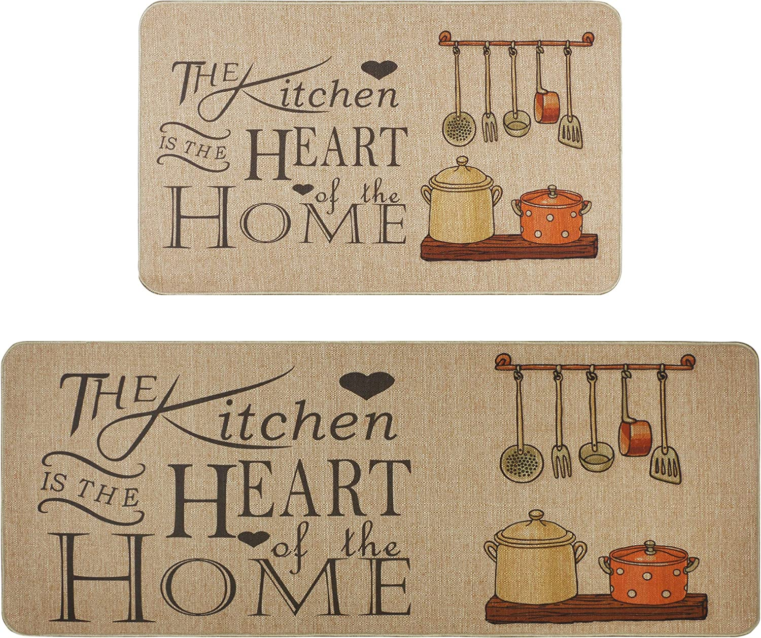 Kitchen Rugs Set,Famibay 9 Piece Cushioned Chef Soft Non Slip Rubber Back  Floor Mats Washable Doormat Bathroom Runner Area Rug Carpet
