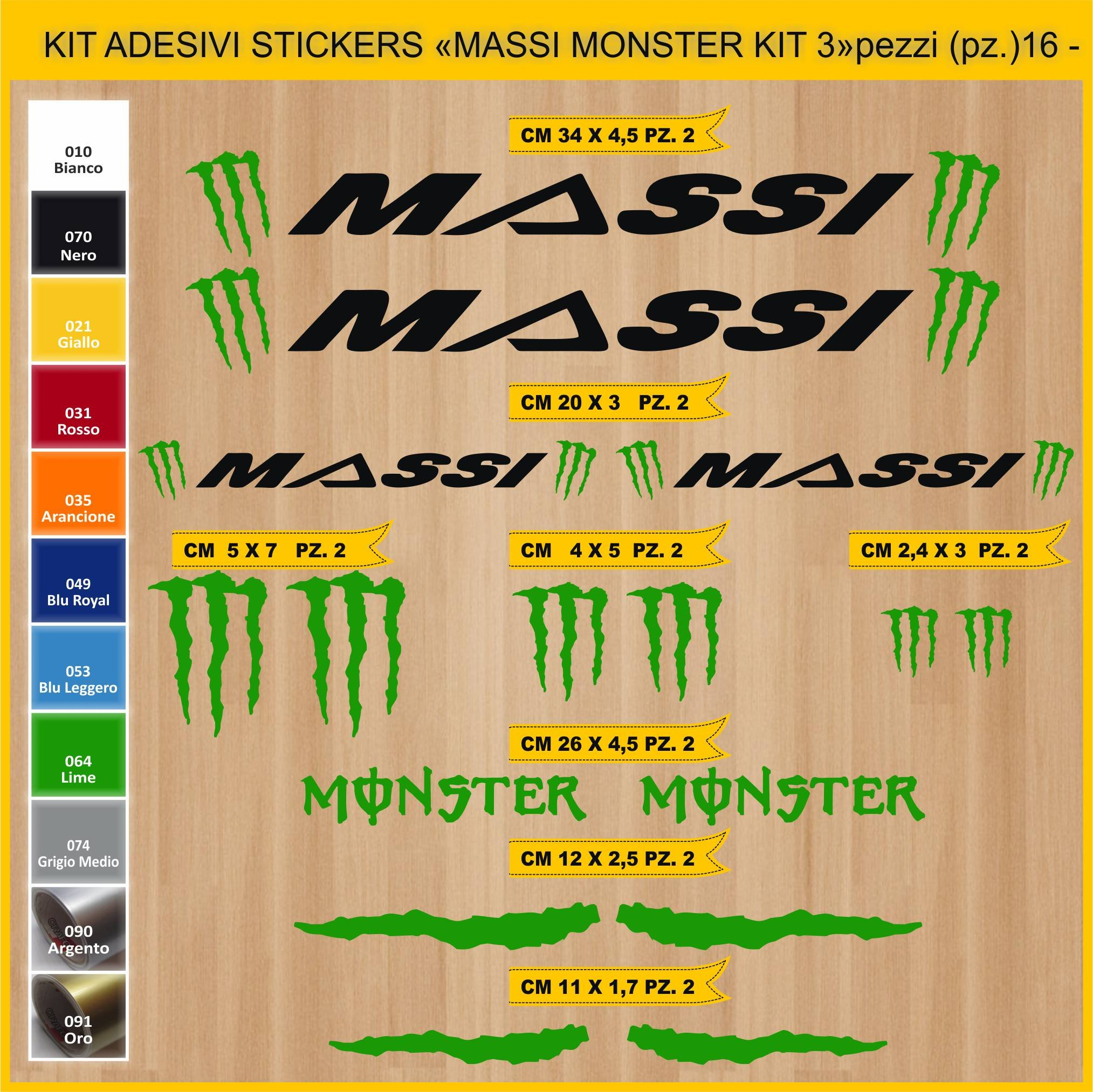 Kit Pegatinas Stickers Bicicleta Massi Monster - Kit 3-16 Piezas ...