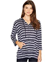 TWO by Vince Camuto - 3/4 Sleeve Uneven Stripe Split Hoodie