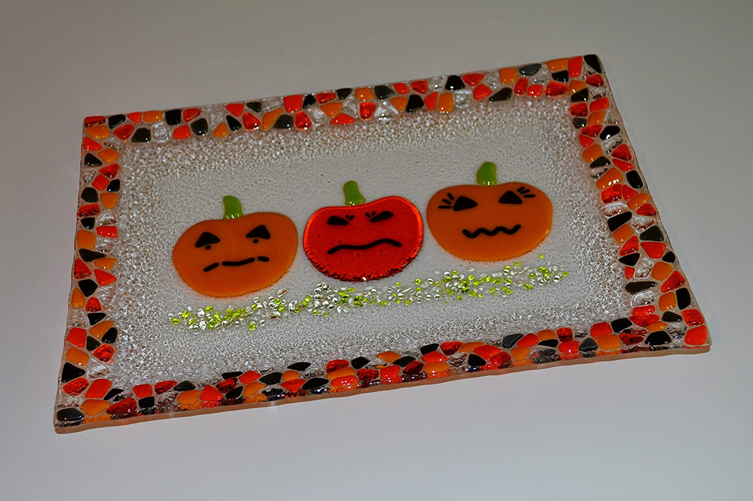 Halloween Free shipping pumpkin party Limited time for free shipping triplet glass fused by YafitGlass plate