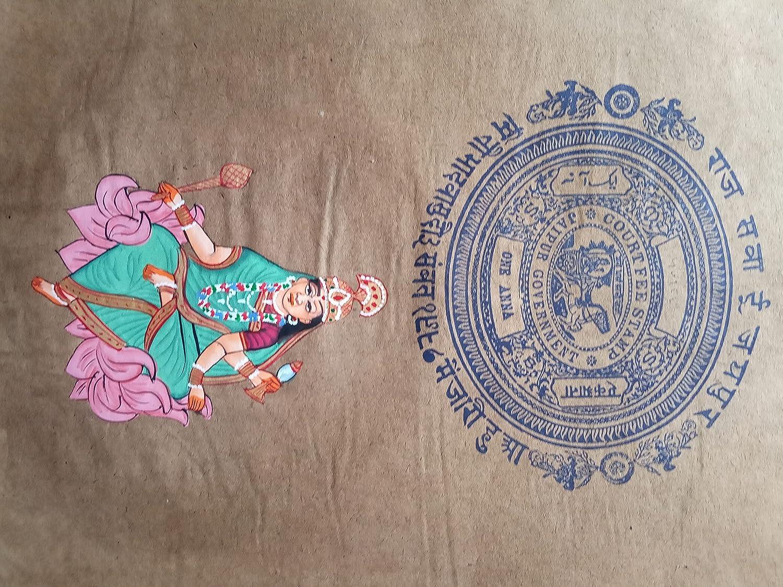 Sarswati Maa Hindu Goddess Indian Religious Ar Handmade Denver Mall Max 57% OFF Painting