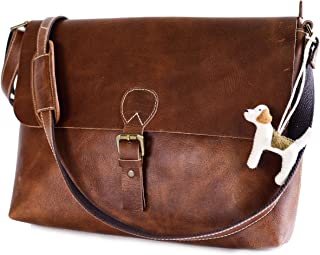 Personalized Genuine Leather Laptop Bag - 100% Full Grain Leather Messenger Briefcase Bag