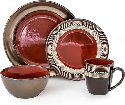 overandback Quill 16pc Dinnerware Set, Service for 4, 16- piece, Red/Metallic
