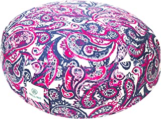 Incline Fit Zafu Yoga Meditation Cushion with Zipper, Round Meditation Pillow Bolster Filled with Buckwheat Hulls With Machine Washable Cotton Cover and Carry Handle, Round, Fuschia Paisley