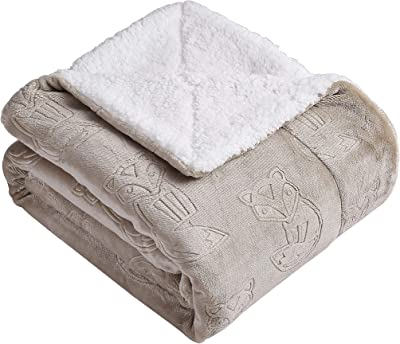 Morgan Home Sherpa Plush Throw Blanket – Embossed Animal Prints - Soft, Cozy and Perfect for The Couch, Sofa or Bed (Fox Taupe)