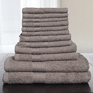 Bedford Home 12-Piece 100-Percent Cotton Towel Set, Taupe