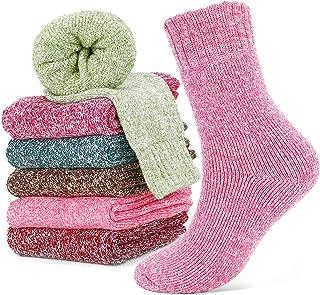 Calcetines de Lana, Calcetines de Lana Cálidos de Confort Casual de Mujer de Invierno UK 4~6.5 y Eu 34.5~39