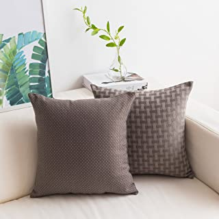(46cm x 46cm, Checker/Dots Set-tan) - HOME BRILLIANT Set of 2 Lined Linen Cushion Covers Checkers and Dots Decorative Thro...