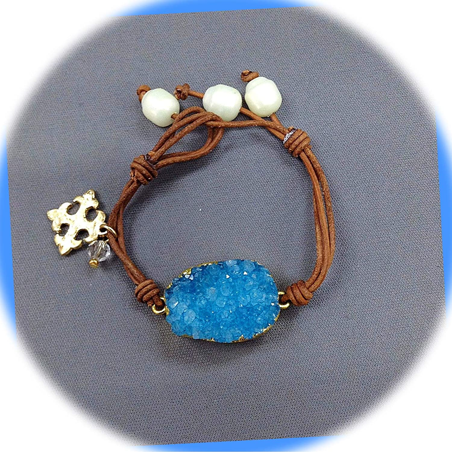 New Brown Leather Max 78% OFF Bohemian Natural Druzy Fresh Blue Stone Now free shipping Charms