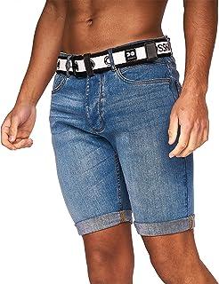 Crosshatch Mens Denim Jeans Shorts Cotton Summer Knee Length Pant(38,Light Wash-Reester)