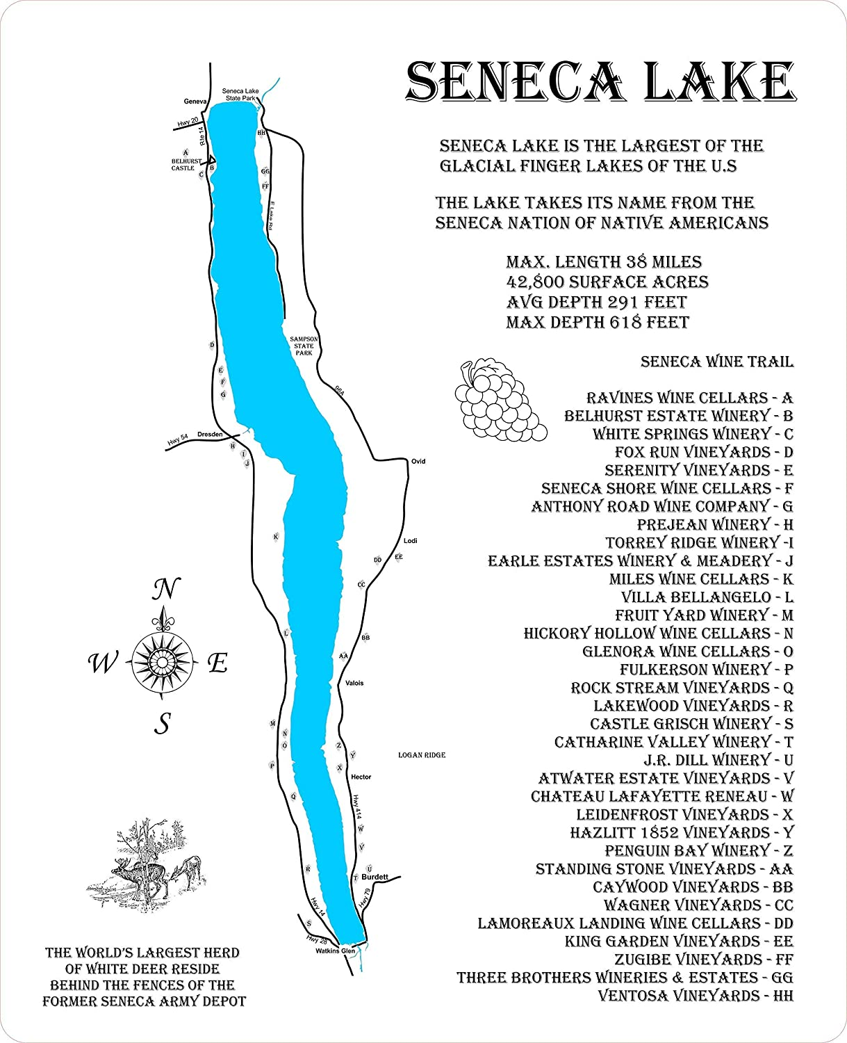 Seneca Max 53% OFF Lake and the Wine Trail: Map Fresno Mall Standout Ha Wood Wall