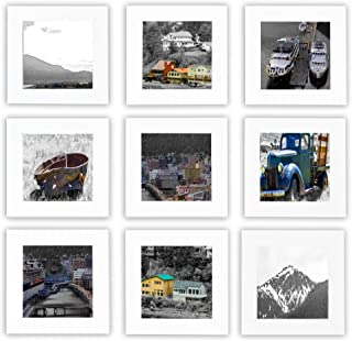 Golden State Pack of 9, 4x4-inch White Square Wood Frames, Table/Desk Display, Wall Mounting, Instagram Frames Collection, Real Glass