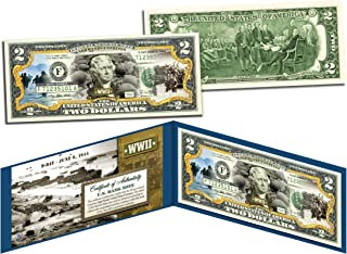 WORLD WAR II * D-DAY NORMANDY LANDINGS * Colorized $2 Bill US Legal Tender WWII