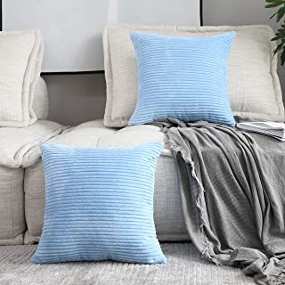 Home Brilliant 2 Packs Soft Cushion Covers Striped Velvet Throw Pillow Cases for Bed Living Room, 16 x 16 inch, 40x40 cm, Baby Boy Blue