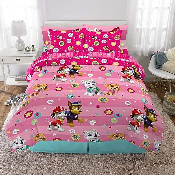 Franco Kids Bedding Super Soft Comforter And Sheet Set With Bonus Sham 7 Piece Full Size Paw Patrol Pink