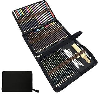Lápices de Colores,lapiz de madera,Materiales para Dibujo Artistico,Kit de Dibujar y Pintura para Niños-Set de 75 lápices de Colores Mejores lápices para Colorear para Artistas,Estudiantes y Adultos