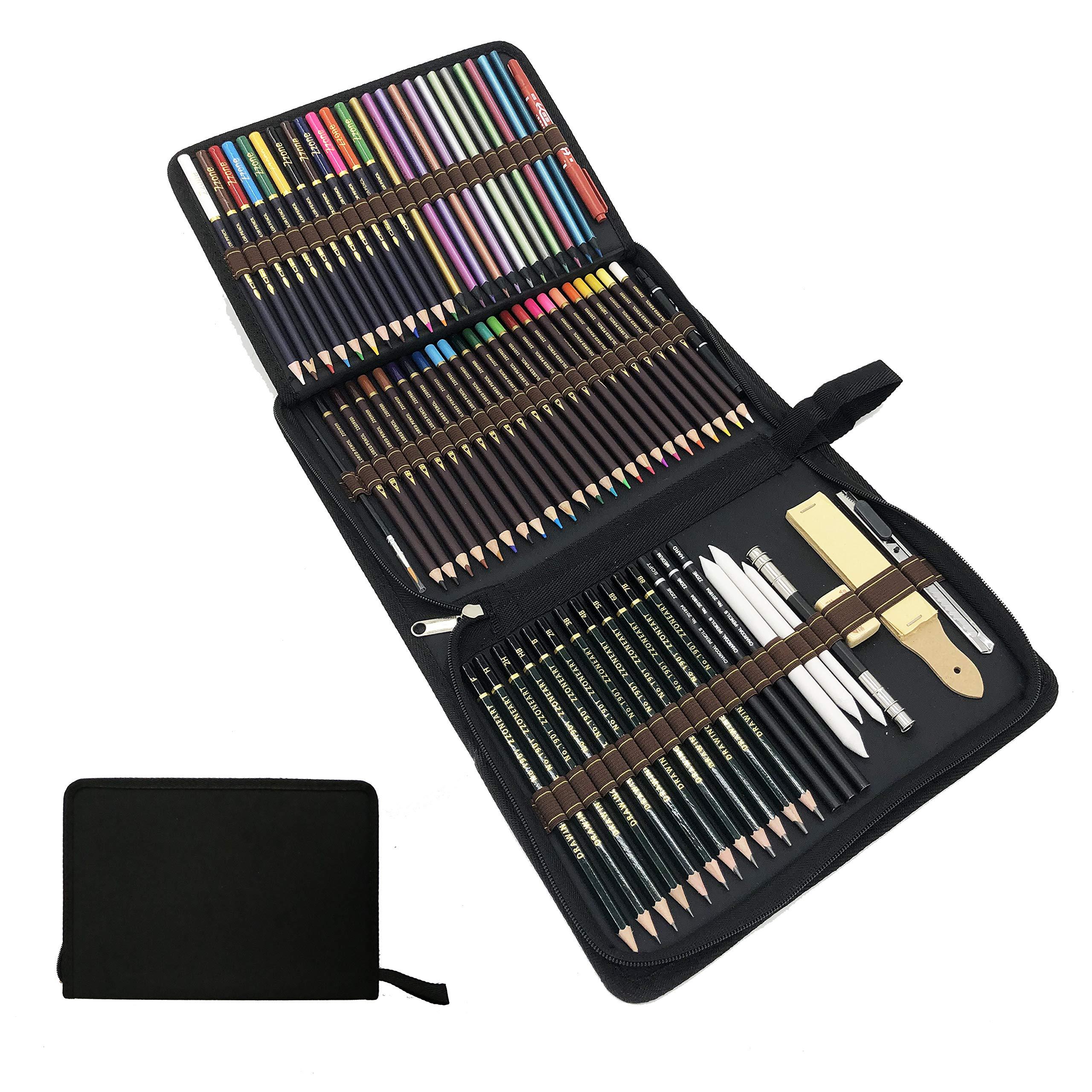 Lápices de Colores,lapiz de madera,Materiales para Dibujo Artistico,Kit de Dibujar y Pintura para Niños-Set de 75 lápices de Colores Mejores lápices para Colorear para Artistas,Estudiantes y Adultos: Amazon.es: Oficina y papelería