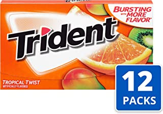 Trident Tropical Twist Flavor Sugar Free Gum—12 Packs (168 Pieces Total) Packaging May Vary