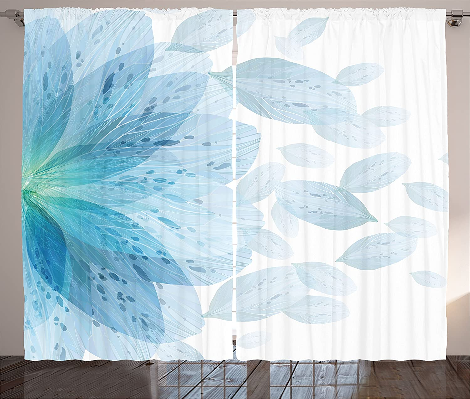 Ambesonne Floral Dallas Mall Curtains Round Pattern Petals of S Flower Blue specialty shop