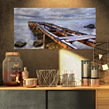 Old Rusty Pier in Cloudy Day Seashore Photo on Canvas Art Wall Photgraphy Artwork Print