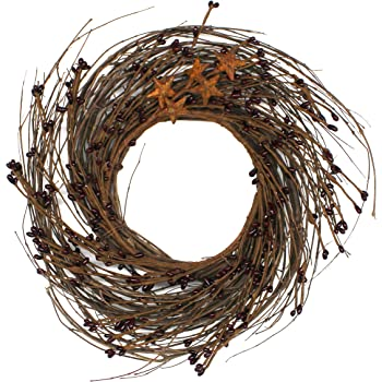 K/&K Interiors 54224B 20 Inch Gold Glittered Twig Wreath with Pearls on Vine Base
