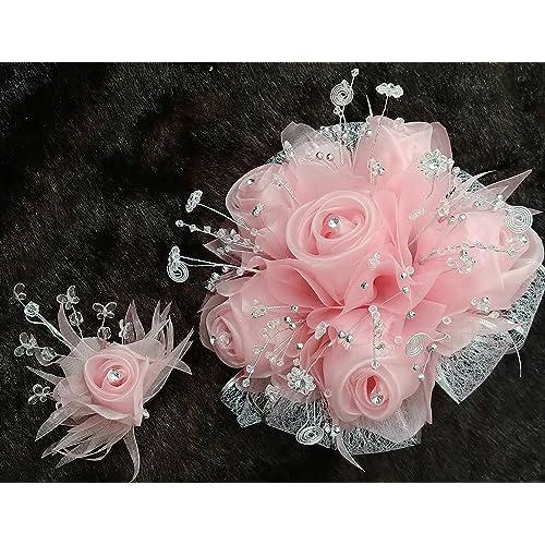 15th Quinceañera Blush & Silver Flower Princess Bouquet Set & Corsage, Ramo Para Quinceañera 15