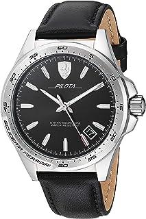 Ferrari Men's 'Pilota' Quartz Stainless Steel and Leather Watch, Color:Black (Model: 0830523)