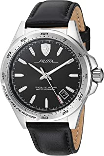 Pilota, Quartz Stainless Steel and Leather Strap Casual Watch, Black, Men, 830523