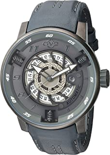 GV2 by Gevril Motorcycle Sport Mens Swiss Automatic Grey Leather Strap Watch, (Model: 1303)