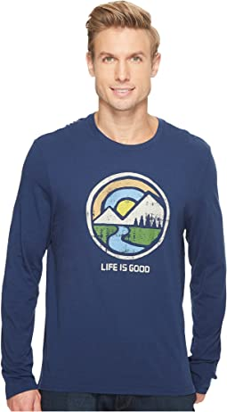 Color Block Mountains Long Sleeve Smooth Tee