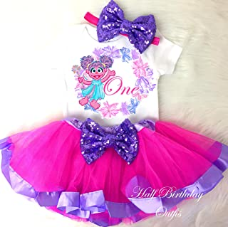 Birthday Tutu Outfit Abby Cadabby Pink Purple 3pcs Headband Romper