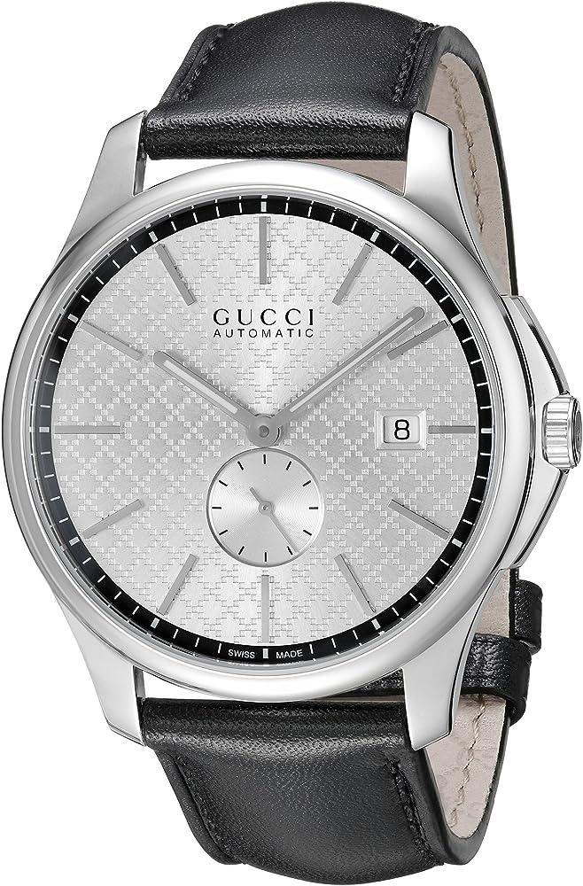 Gucci,orologio ,cronografo automatico per uomo,in acciaio, quadrante con motivo diamante argentato YA126313