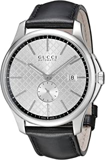 Gucci G-Timeless Collection Stainless Steel Automatic Men's Watch with Black Leather Band(Model:YA126313)