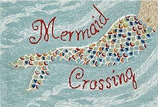 Liora Manne Front Porch Coastal Beach Mermaid Crossing Water Indoor/Outdoor Rug, 2' X 3',