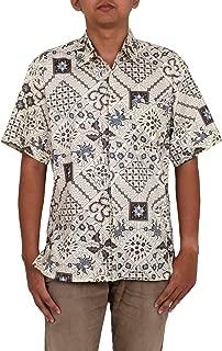 White Men's Cotton Traditional Batik Shirt, Javanese Batik'