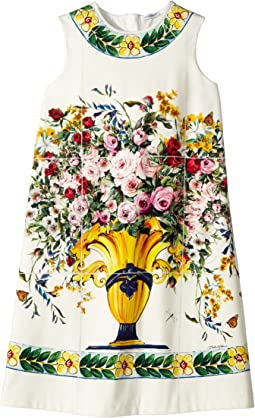 Dolce & Gabbana Kids - Caltagirone Vase Print Interlock Dress (Big Kids)