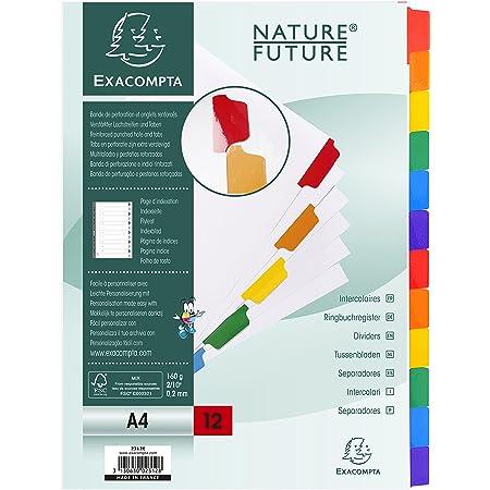 Exacompta - Réf. 2312E - Intercalaires en carte blanche 160g/m2 FSC® avec 12 onglets neutres en couleurs - renforcés et plastifiés - Page d'indexation imprimable - Format à classer A4