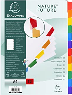 EXACOMPTA 2312E Intercalaires carte blanche 160g avec onglets couleurs renforcés - 12 positions - A4 Blanc