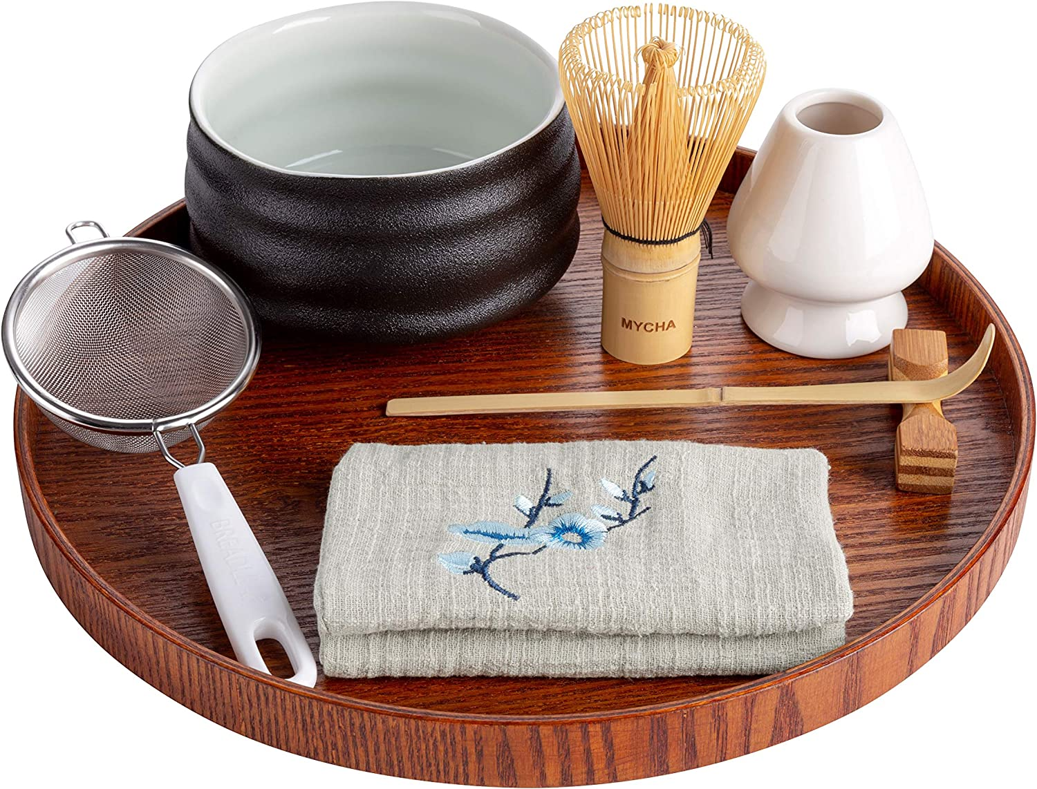 Japanese Handcrafted Matcha Tea Bowl-Bamboo Whisk-Scoop-Scoop Holder-Stainless Steel Sifter-Ceramic Whisk Holder-Tea Cloth-Tea Tray,Prep Guide MYCHA-Complete Matcha Ceremony Gift Set Black pottery