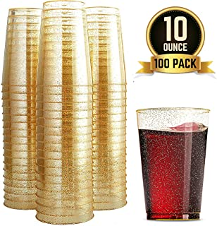 100 Glitter Plastic Cups 10 Oz Clear Plastic Cups Tumblers Gold Glitter Cups Disposable Wedding Cups Elegant Party Cups Recyclable and BPA-Free