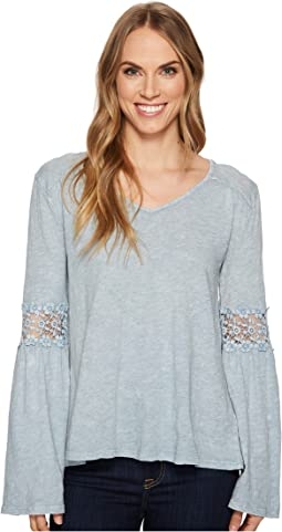 Dylan by True Grit - Heather Vintage Slub V-Neck Tee with Crochet Sleeve