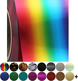 Threadart Rainbow Metallic Foil Heat Transfer Vinyl Film HTV | By the Yard | Use with Silhouette, etc | Available in Solids, Neon, Glitter, Flock, Holographic, Metallics, Embossed | Over 130 Colors
