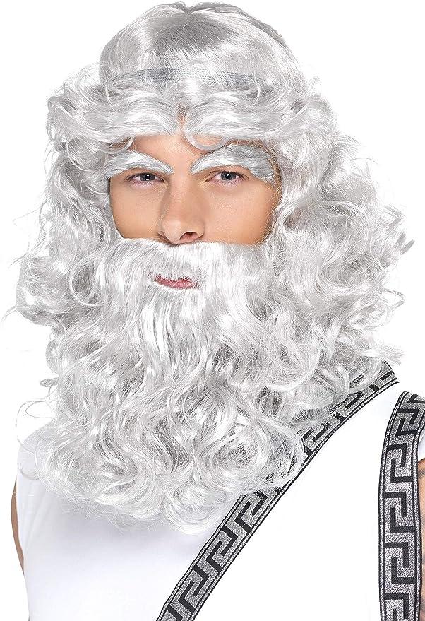Deluxe grey wig and Beard Set viking Wizard Zeus Santa Fancy Dress Costume Kit