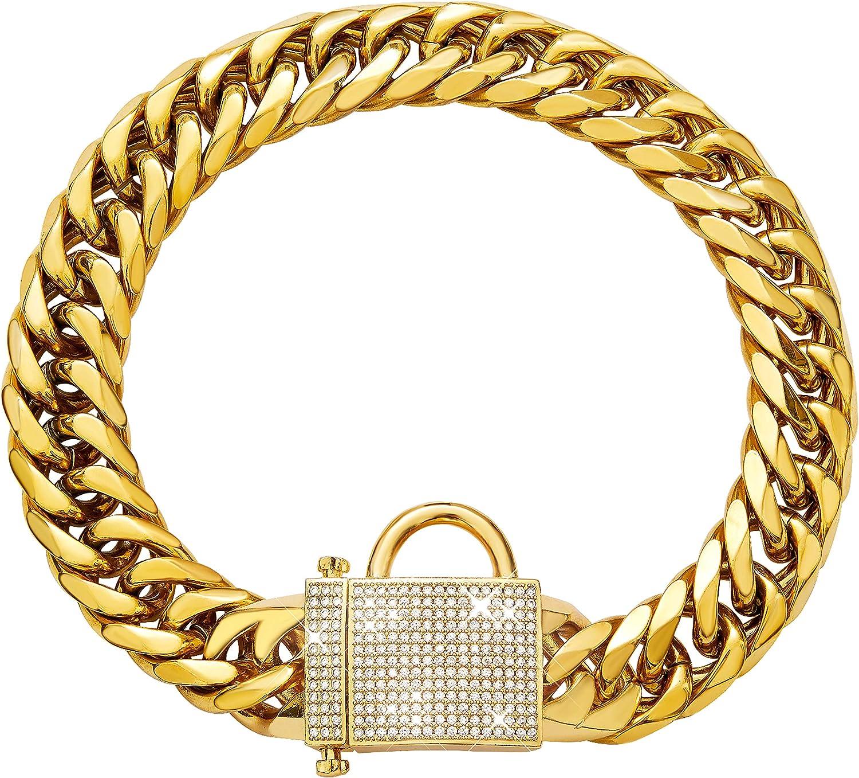 Mail order cheap PRADOG Gold Chain Dog Collar with Locking Zirconia Mesa Mall Du 16mm Heavy